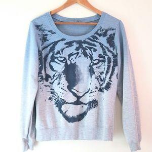 Vintage Tiger Face Graphic Crewneck Sweatshirt